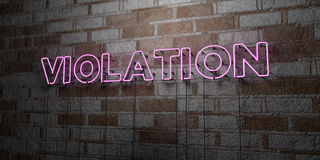 VIOLATION - Glowing Neon Sign on stonework wall - 3D rendered royalty free stock illustration. Can be used for online banner ads and direct mailers Stock Image