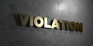 Violation - Gold text on black background - 3D rendered royalty free stock picture. This image can be used for an online website banner ad or a print postcard Royalty Free Stock Photos