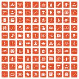 100 violation icons set grunge orange. 100 violation icons set in grunge style orange color isolated on white background vector illustration Stock Photos
