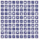 100 violation icons set grunge sapphire. 100 violation icons set in grunge style sapphire color isolated on white background vector illustration Royalty Free Stock Photos
