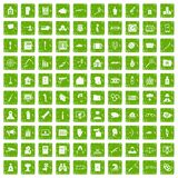 100 violation icons set grunge green. 100 violation icons set in grunge style green color isolated on white background vector illustration Royalty Free Stock Photography