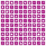 100 violation icons set grunge pink. 100 violation icons set in grunge style pink color isolated on white background vector illustration Royalty Free Stock Photos
