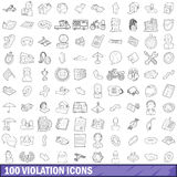 100 violation icons set, outline style. 100 violation icons set in outline style for any design vector illustration Royalty Free Illustration