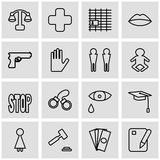 Violation of an individual`s rights. Set of vector web icons of the concept of social problems.  Royalty Free Stock Photography