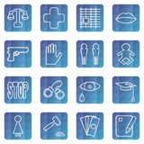 Set of web icons of the concept of social problems. stock illustration