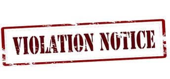 Violation notice. Rubber stamp with text violation notice inside,  illustration Stock Image
