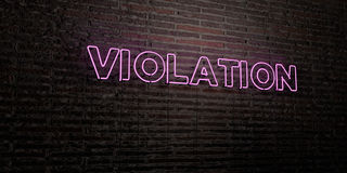 VIOLATION -Realistic Neon Sign on Brick Wall background - 3D rendered royalty free stock image. Can be used for online banner ads and direct mailers Stock Photo