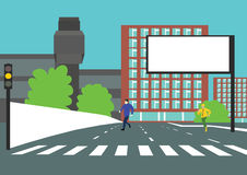 Violation of traffic rules. By two people running across the road on yellow traffic light for cars Stock Photography