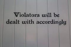 Violators Sign Royalty Free Stock Images