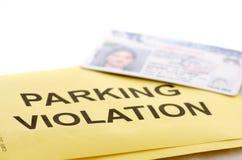 Violazione di parcheggio Fotografia Stock