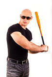 Violence and aggression concept - furious screaming angry man hand holding baseball sport bat Stock Photography
