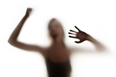 Violence concept. Silhuette of a screaming woman - violence concept Royalty Free Stock Photos