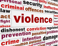 Violence criminal issue concept. Aggressive behavior word clouds background Royalty Free Stock Images