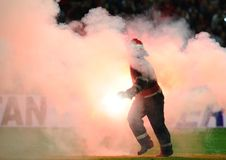Violence in a football game Royalty Free Stock Photos