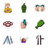 Violence icons set, cartoon style Stock Photos
