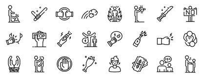 Violence icons set, outline style. Violence icons set. Outline set of violence vector icons for web design isolated on white background stock illustration
