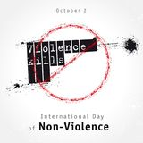 Violence kills lettering design, concept for International Day of Non-Violence. Vector grunge illustration with the inscription Violence kills on background of a Royalty Free Stock Images
