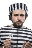 Violence, one caucasian man prisoner criminal with chain ball an Royalty Free Stock Images