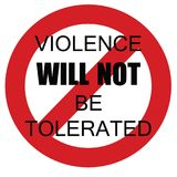 Violence zero tolerance. Zero violence sign black letters in red circle on white background illustration royalty free illustration