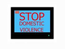 VIOLENCIA EN EL HOGAR de la PARADA del lema en la pantalla de la televisión foto de archivo