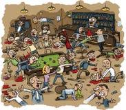 Violent Bar Brawl. Cartoon scene of violence as a bar erupts into a huge violent brawl Royalty Free Stock Photo