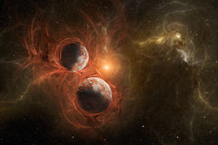 Violent birth of new planets with nebula in space. View on illuminated unknown young planets deep in outer space and fiery nebula with stars in the sky. High Stock Images
