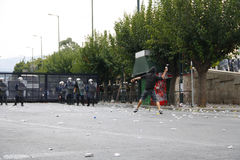 Violent clashes during Merkel visit in Athens Stock Images