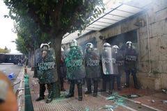 Violent clashes during Merkel visit in Athens Stock Photo