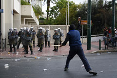 Violent clashes during Merkel visit in Athens Stock Image
