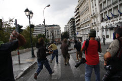 Violent clashes during Merkel visit in Athens Royalty Free Stock Images