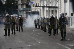 Violent clashes during Merkel visit in Athens Royalty Free Stock Photos