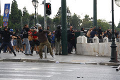Violent clashes during Merkel visit in Athens Stock Images