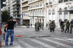 Violent clashes during Merkel visit in Athens Royalty Free Stock Image