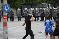 Violent clashes during Merkel visit in Athens Stock Photos