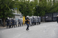 Violent clashes during Merkel visit in Athens Stock Photos