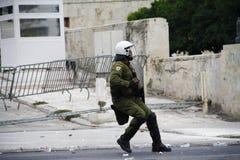 Violent clashes during Merkel visit in Athens Stock Image