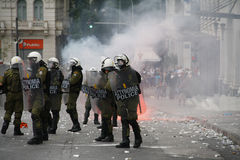 Violent clashes during Merkel visit in Athens Royalty Free Stock Photography