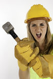Violent Construction Girl Royalty Free Stock Photos