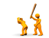 Violent Felony. A one orange cartoon wallops the other one Royalty Free Stock Photos