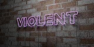 VIOLENT - Glowing Neon Sign on stonework wall - 3D rendered royalty free stock illustration Royalty Free Stock Image
