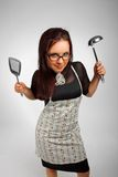 Violent housewife Stock Image