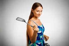 Violent housewife Stock Photos