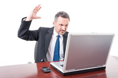 Violent lawyer rising palm up Stock Photo
