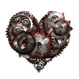 Violent love. Heart made with metal and blood to represent violent love Stock Images