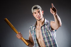 Violent man with baseball bat Stock Photography