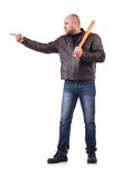 Violent man with baseball bat. On white Royalty Free Stock Images