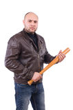 Violent man with baseball bat Royalty Free Stock Images