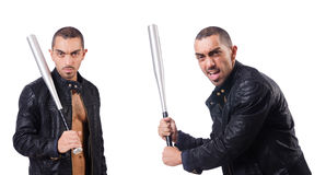 The violent man with baseball bat on white Stock Photo