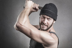 Free Violent Man Using A Spanner Or Wrench As A Weapon Stock Photography - 53824772