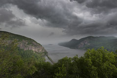 Violent Storm Approaching Storm King Mountain in the Hudson Highlands of New York. An intense thunderstorm is about to rain down on the mountains of the northern Stock Photo